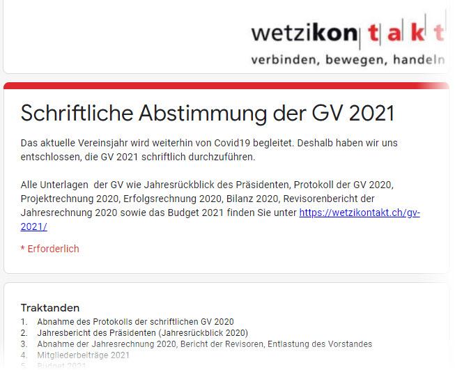 Formular schriftliche Abstimmung der GV 2021
